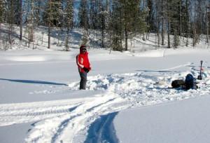 Lappland im Winter Eisangeln