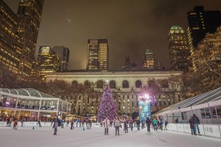 New York Manhattan Eislaufbahn Schlittschuh