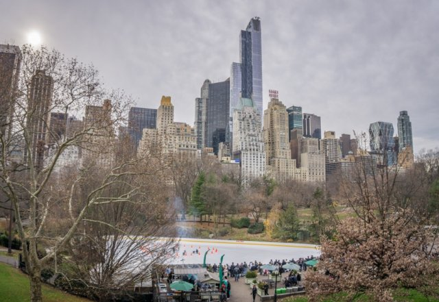 New York Manhattan Eislaufbahn Schlittschuh Central Park