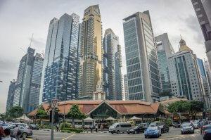 Singapur Sehenswuerdigkeiten Lau Pa Sat Foodmarket Finanzviertel