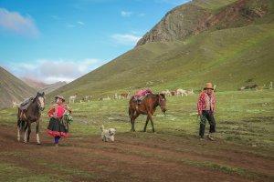 Rainbow Mountains Peru Cusco Wanderung Lamas
