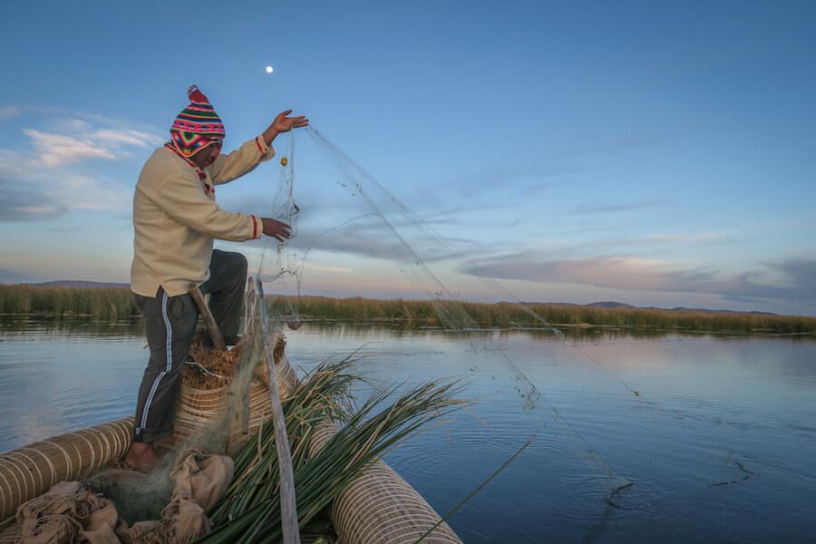 La Paz Titikakasee Uros Titikaka Lodge Fischen