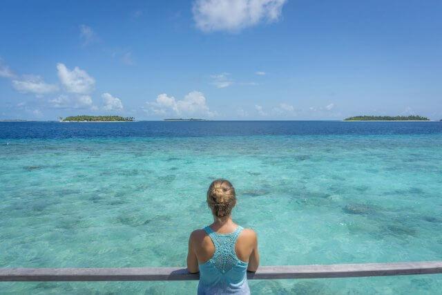 Malediven Inseln Reethi Beach Wasserbungalow Aussicht