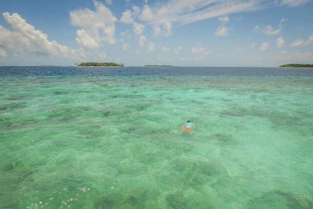 Malediven Inseln Reethi Beach Wasserbungalow Schnorcheln