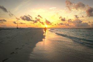 Malediven Inseln Reethi Beach Moonlight BBQ Sonnenuntergang