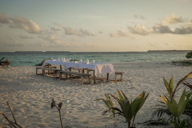 Malediven Inseln Reethi Beach Moonlight BBQ