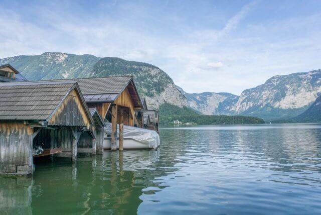 Oberoesterreich Dachstein Salzkammergut Hallstatt See Haeuser