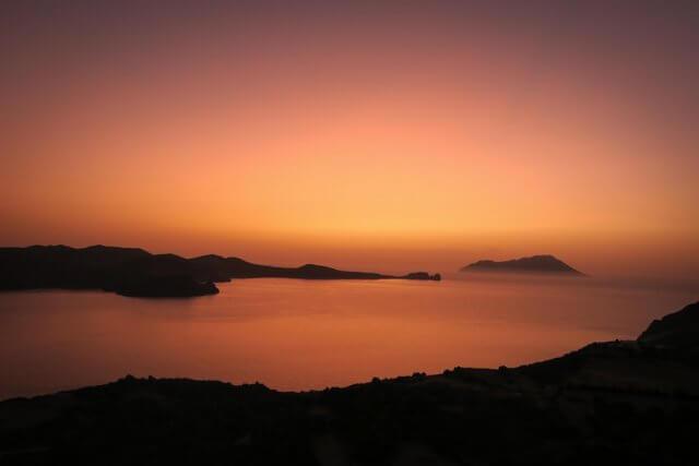 Kykladeninsel Milos Plaka Sonnenuntergang