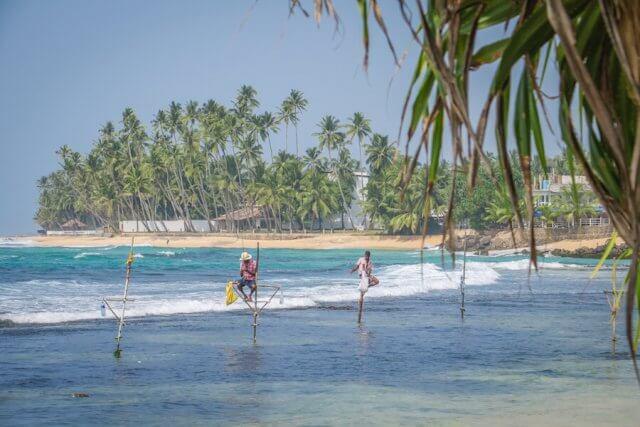 Sri Lanka Urlaub Unawatuna Stockfischer Strand