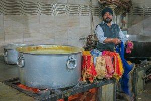 Indien Urlaub_Delhi Sehenswuerdigkeiten_Taj Mahal Agra Küche Sikh Tempel