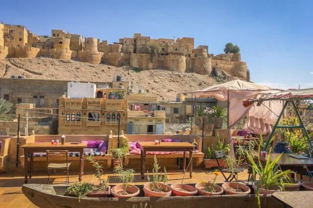 Rajasthan Rundreise Jaisalmer Hotel Shahi Palace Dachterrasse