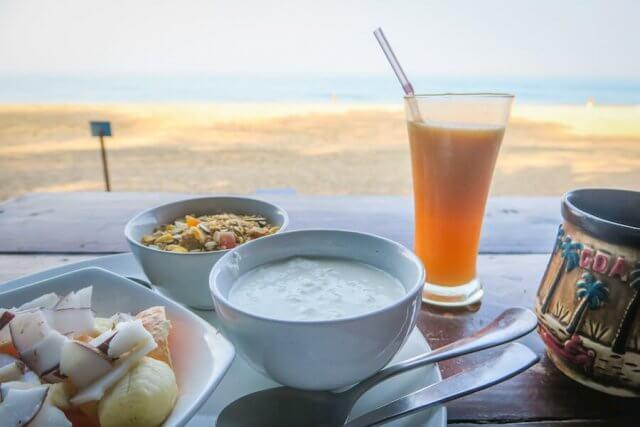 Goa Indien Jardim a mar Frühstück