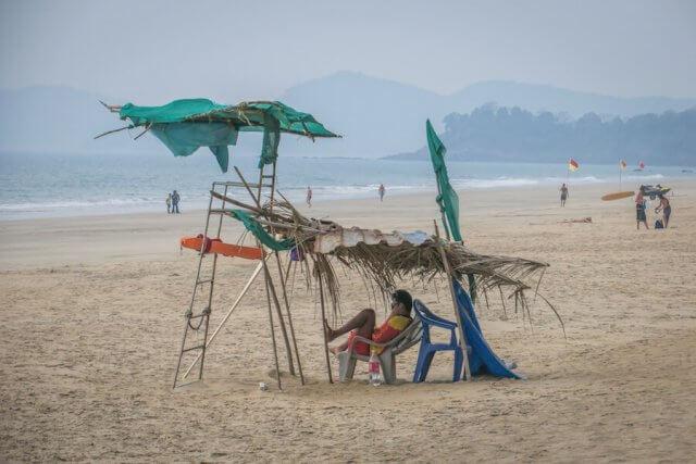 Goa Indien Galgibaga Beach Lifeguard