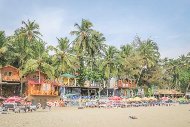 Goa Indien Palolem Beach Strandhütten