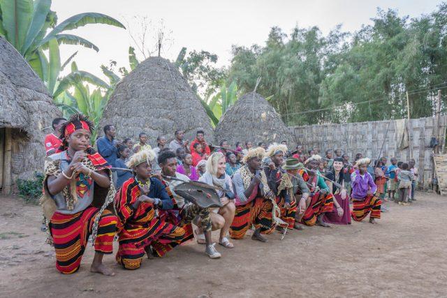 Aethiopien Reisen Dorze Stamm Dorf Arba Minch Tanz