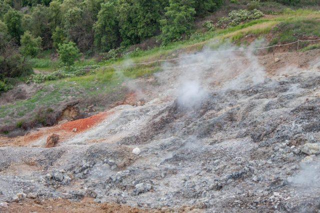 Toskana Italien Pomarance geothermale Felder Wanderung