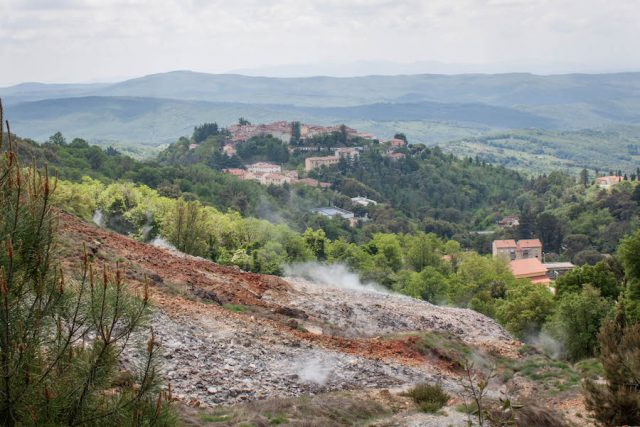 Toskana Italien Pomarance geothermale Felder