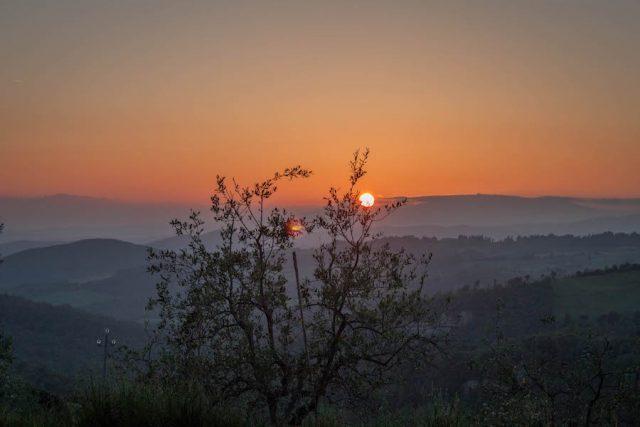 Toskana Italien Pomarance Agriturismo Sonnenuntergang