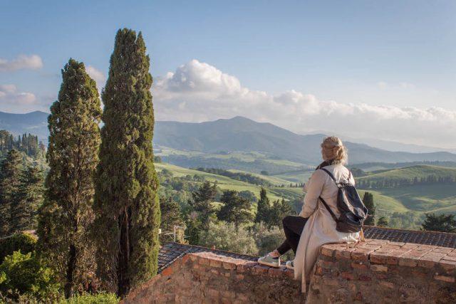 Toskana Italien Pomarance Montegemoli Aussicht