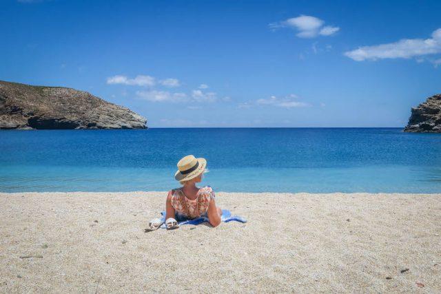 Andros griechische Inseln Kykladen Ahla Beach schönster Strand von Andros