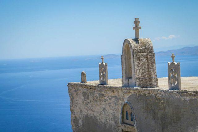 Kykladeninseln Tinos Miloi Windmühlen Ruinen Kirche