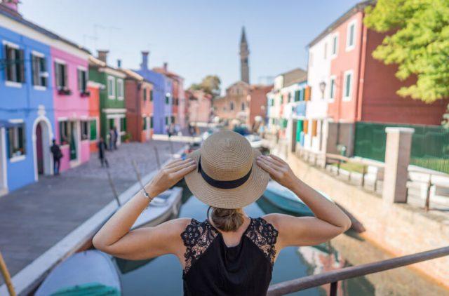 Italien Venedig Urlaub Burano Kanal