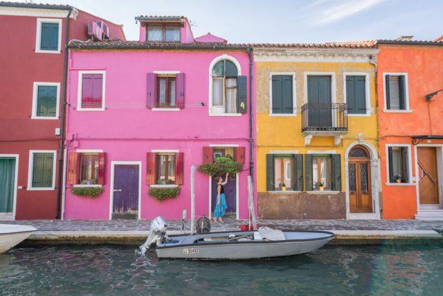 Italien Venedig Urlaub Burano Kanal bunt
