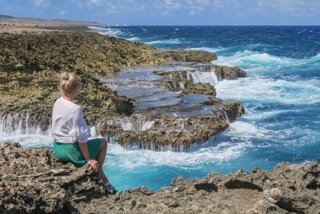 Curacao Urlaub Karibik niederlaendische Antillen Shete Boka Nationalpark Boka Pistol raue Kueste