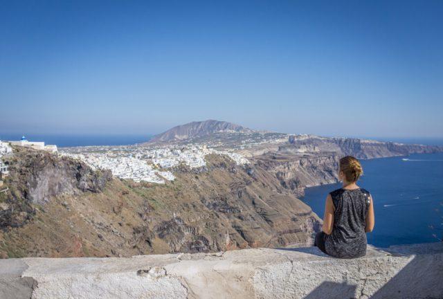 Griechische Inseln Santorini Ausblick Fira