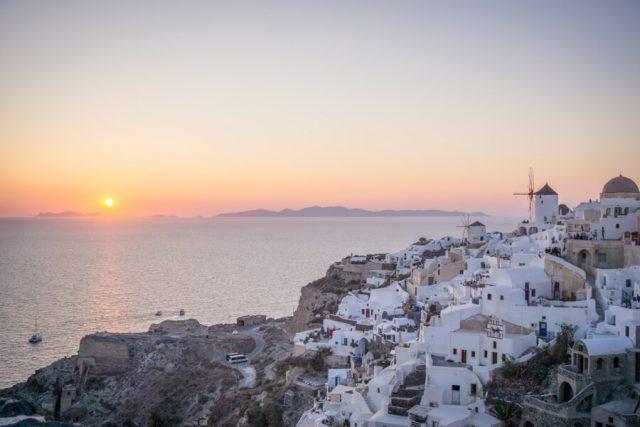 Griechische Inseln Santorini Sonnenuntergang Oia