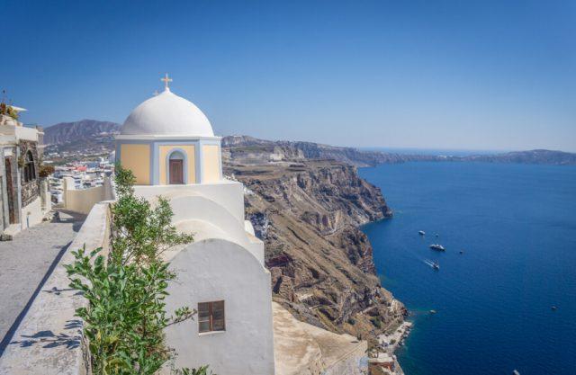 Griechische Inseln Santorini Spaziergang Fira Imerovigli