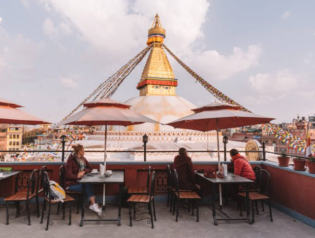 Nepal Reisen Kathmandu Bodnath Stupa Rooftop Cafe