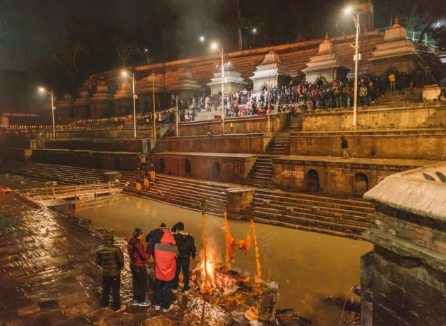Nepal Reisen Kathmandu Pashupatinath Tempel Aarti