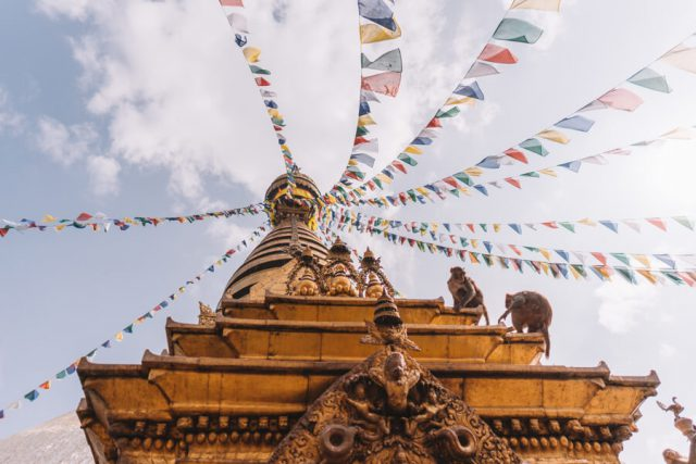 Nepal Reisen Kathmandu Swayambunath Affentempel