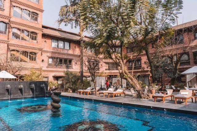 Nepal Reisen Kathmandu Dwarikas Hotel Pool