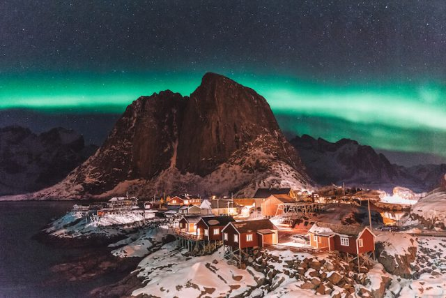 Aurora borealis Lofoten Hamnoy