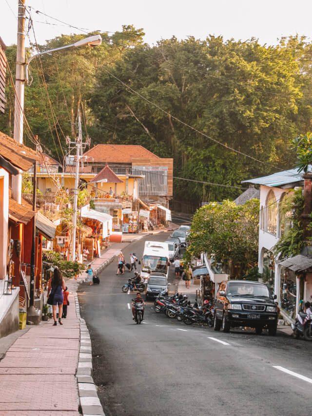 Bali Sehenswuerdigkeiten Ubud Monkey Forest Road