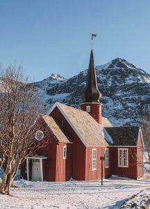 Kirche Flakstad Lofoten Norwegen