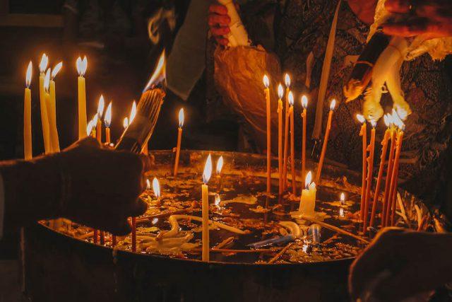 Grabeskirche Jerusalem Kerzen