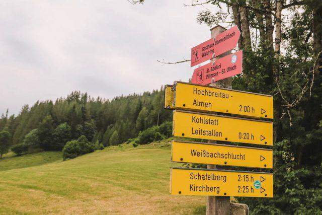 Urlaub in Tirol Waiwi Weitwanderweg Beschilderung