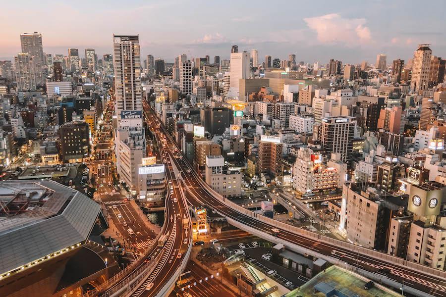 Osaka Sehenswuerdigkeiten Sonnenuntergang