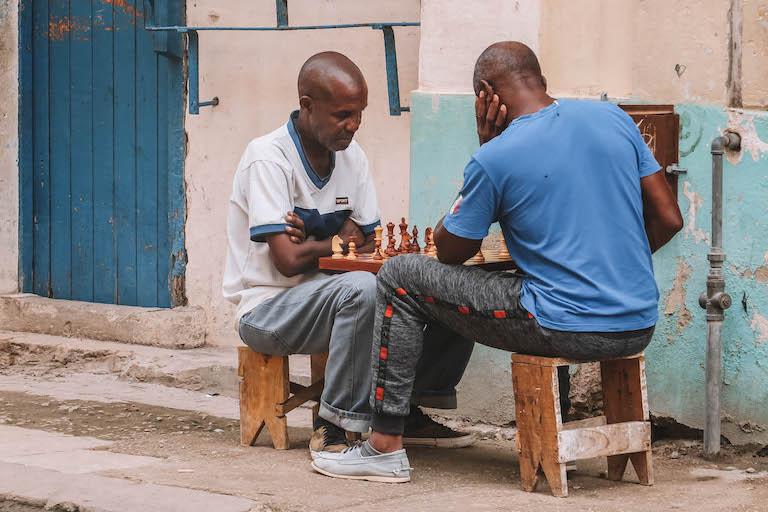 Havanna Kuba Schachspieler