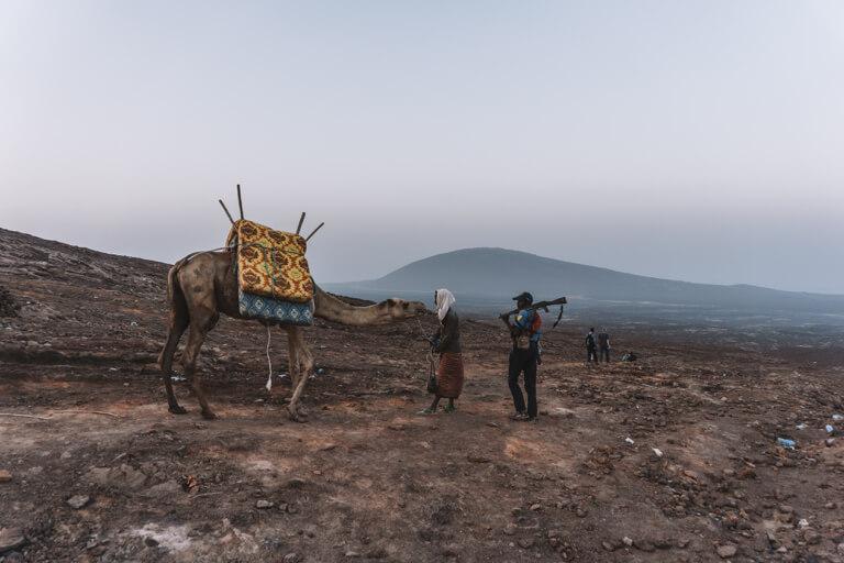 Erta Ale Vulkan Aethiopien Danakil Senke Kamel