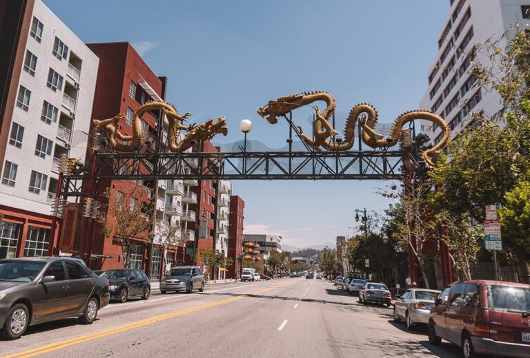 Chinatown LA Drachen Eingang