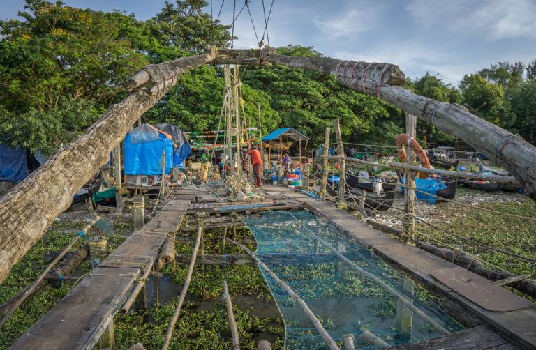 Indien Sehenswuerdigkeiten Kerala Kochi Chinesische Fischernetze