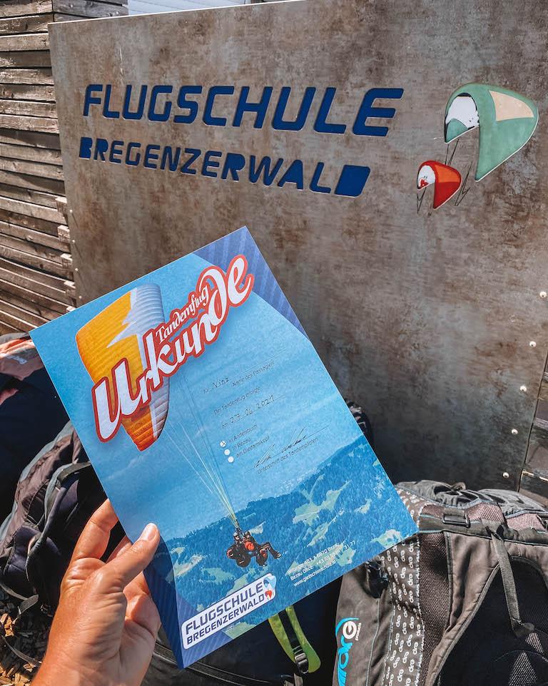 Flugschule Bregenzerwald Urkunde